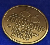 Fellowship Is The Meeting After The Meeting Bronze Medallion Coin Chip AA NA