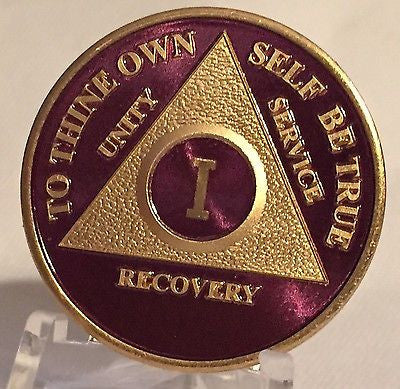 Purple & Gold Plated Any Year 1 - 65 AA Chip Alcoholics Anonymous Medallion Coin - RecoveryChip