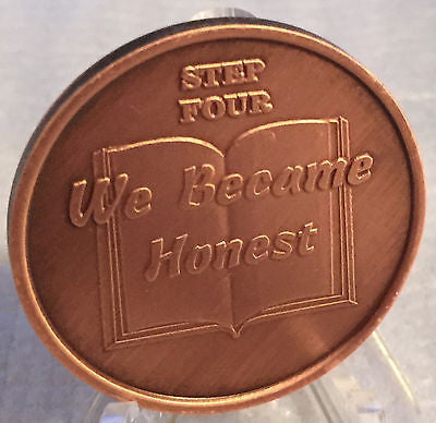 Step 4 Copper Twelve Step Medallion AA NA Recovery 12 Steps Serenity Prayer - RecoveryChip