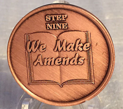 Step 9 Copper Twelve Step Medallion AA NA Recovery 12 Steps Serenity Prayer - RecoveryChip