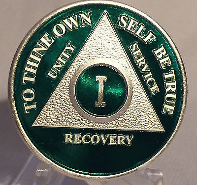 Green & Silver Plated Any Year 1 - 65 AA Chip Alcoholics Anonymous Medallion Coin Plate - RecoveryChip