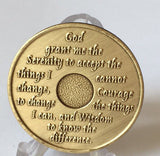 Plain Front No Number AA Alcoholics Anonymous Bronze Medallion Chip Serenity Prayer Coin - RecoveryChip