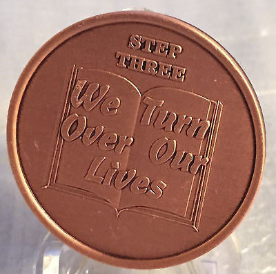 Step 3 Copper Twelve Step Medallion AA NA Recovery 12 Steps Serenity Prayer Chip - RecoveryChip