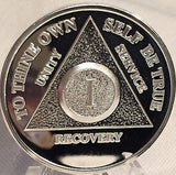 Silver Plated AA Anniversary Medallion Alcoholics Anonymous Chip Coin Any Year 1 - 65