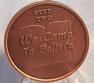 Step 2 Copper Twelve Step Medallion AA NA Recovery 12 Steps Serenity Prayer Chip - RecoveryChip