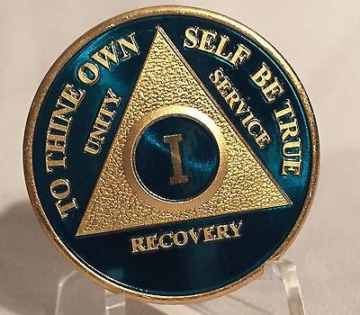 Blue & Gold Plated Any Year 1 - 65 AA Chip Alcoholics Anonymous Medallion Coin - RecoveryChip