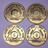 AA Alcoholics Anonymous Medallion Chip Set 30 90 180 1 3 6 9 Months Coin Coins - RecoveryChip