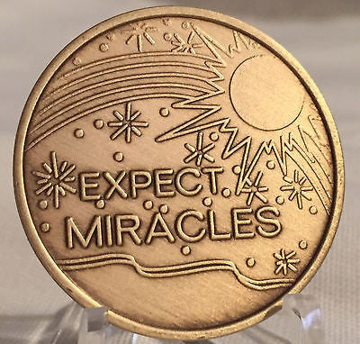 Expect Miracles Medallion Coin Chip Bronze Recovery AA NA Alcoholics Anonymous - RecoveryChip