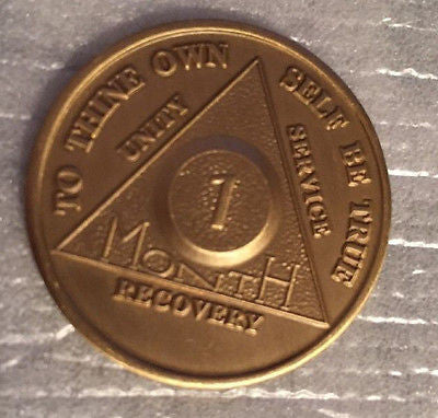 Set of 5 Alcoholics Anonymous 1 Month Recovery Coin Chip Medallion Token AA - RecoveryChip