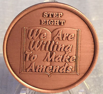 Step 8 Copper Twelve Step Medallion AA NA Recovery 12 Steps Serenity Prayer Chip - RecoveryChip