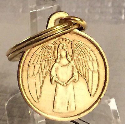 Guardian Angel Bronze Keychain Key Chain Charm He Will Command His Angels To Guard You - RecoveryChip