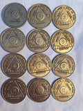Set of 12 Monthly Bronze AA Alcoholics Anonymous Medallion Month 1 - 11 & 24hrs