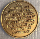 Vietnam Vets Serenity Prayer Bronze Recovery Medallion Coin Chip AA NA Vet