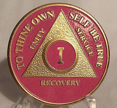 Pink & Gold Plated Any Year 1 - 65 AA Chip Alcoholics Anonymous Medallion Coin - RecoveryChip