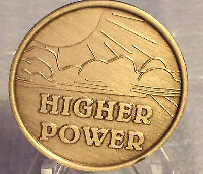 Higher Power Affirmation Recovery Medallion Chip Coin AA NA Bronze Alcoholics Anonymous God Sun Sky - RecoveryChip