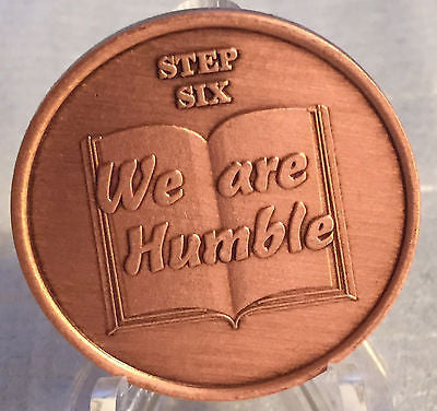 Step 6 Copper Twelve Step Medallion AA NA Recovery 12 Steps Serenity Prayer Chip