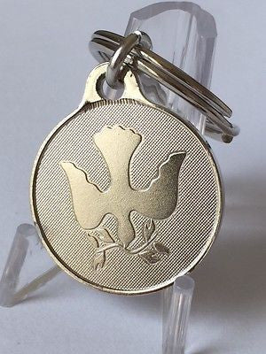 "Dove Olive Branch Peace Key Chain Nickel 1"" Keychain Tag Keytag Charm - RecoveryChip"