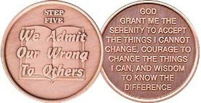 Step 5 Copper Twelve Step Medallion AA NA Recovery 12 Steps Serenity Prayer