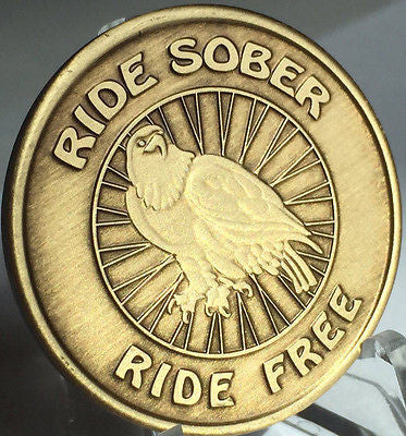 Ride Sober Ride Free Serenity Prayer Bronze Recovery Medallion Coin Chip AA NA