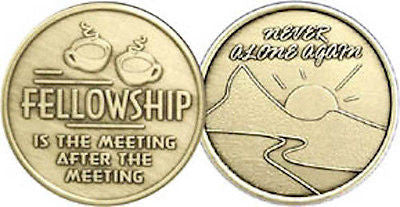 Fellowship Is The Meeting After The Meeting Bronze Medallion Coin Chip AA NA - RecoveryChip