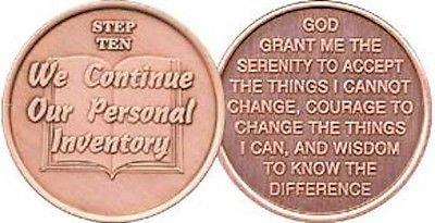 Step 10 Copper Twelve Step Medallion AA NA Recovery 12 Steps Serenity Prayer