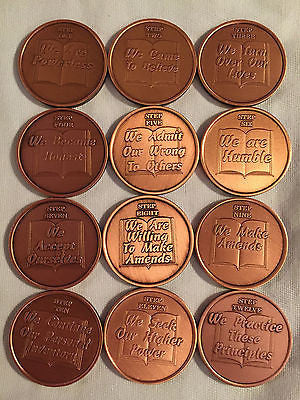 Set Of 12 Copper Step Medallions Twelve Steps AA Alcoholics Anonymous Medallion - RecoveryChip