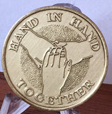Hand In Hand Tohether Bronze Sobriety Medallion Chip - RecoveryChip