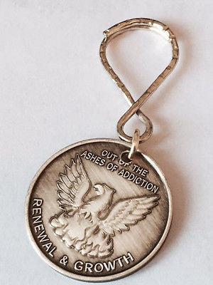 Our Of The Ashes Renewal Growth Serenity Prayer Key Chain AA Medallion Chip Tag - RecoveryChip
