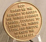 Serenity Lake Prayer Bronze Medallion Chip Coin AA Alcoholics Anonymous NA