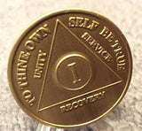 Serenity Prayer Bronze Medallion AA Alcoholics Anonymous Chip Coin Recovery Qt 1