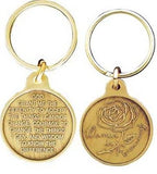 Women In Recovery Bronze Rose Serenity Prayer Key Chain Keychain Fob AA
