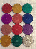 Set of 12 Monthly Aluminum Colored AA Founders Medallion Coin Month 1-11 & 24hrs - RecoveryChip