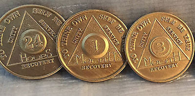 Lot of 3 Alcoholics Anonymous AA Bronze 24hrs 1 3 Month Medallions Chips Coins - RecoveryChip