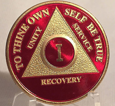 Red & Gold Plated Any Year 1 - 65 AA Chip Alcoholics Anonymous Medallion Coin - RecoveryChip