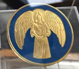 Guardian Angel Blue Golor Gold Plated Medallion Chip Coin - RecoveryChip
