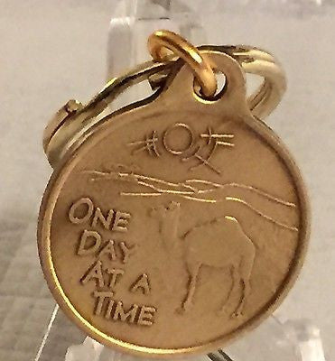 Camel Poem Key Chain Bronze One Day At A Time AA NA Recovery Keychain ODAAT - RecoveryChip