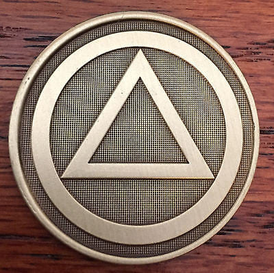 Circle Triangle Serenity Prayer Bronze Recovery Medallion Coin Chip AA NA - RecoveryChip