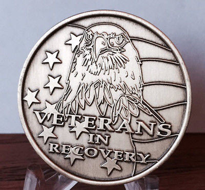 Veterans In Recovery Eagle American Flag Bronze Medallion Chip AA NA - RecoveryChip