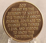 Praying Hands One Day At A Time Medallion Coin AA Chip Bronze Serenity Prayer - RecoveryChip