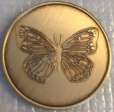 Lot of 5 Butterfly Serenity Prayer Bronze AA Al-Anon Recovery Medallion Coin - RecoveryChip