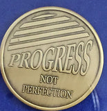 Attitude Progress Not Perfection Bronze Medallion Chip AA Alcoholics Anonymous - RecoveryChip