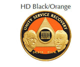 AA Founders Gold Plated HD Black & Orange Alcoholics Anonymous Medallion Chip Any Year 1 - 65 - RecoveryChip