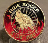 Ride Sober Ride Free Flames & Black Eagle Recovery Medallion Coin Chip Colored