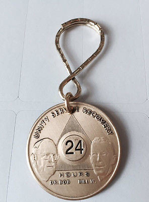 AA Alcoholics Anonymous Founders 24 Hour Key Chain Bill W Dr Bob KeyTag Chip - RecoveryChip