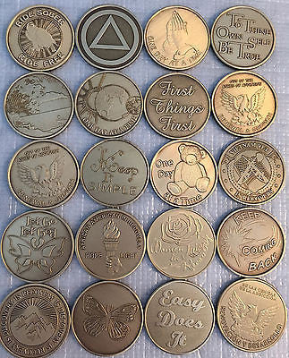 Lot of 20 Serenity Prayer Bronze Medallions AA Alcoholics Anonymous Chip Coins - RecoveryChip