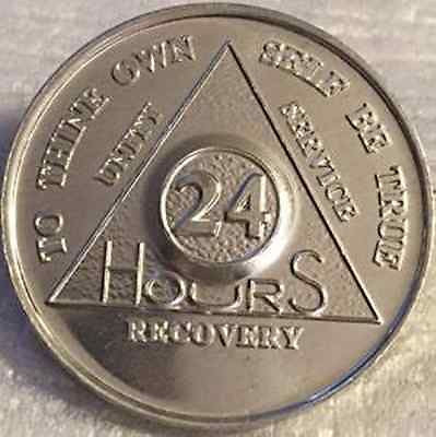 Aluminum AA Alcoholics Anonymous 24 Hours Medallion Desire Chip Coin 24hrs - RecoveryChip