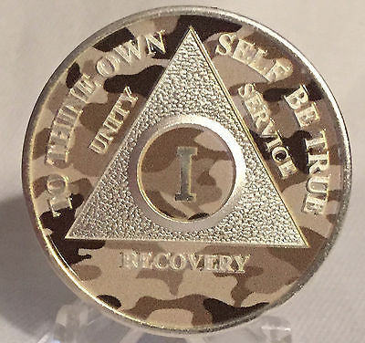 Camo & Silver Plated Any Year 1 - 65 AA Chip Alcoholics Anonymous Medallion Coin Plate - RecoveryChip