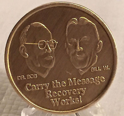 Alcoholics Anonymous Founders Carry The Message Not The Mess Bronze Medallion AA - RecoveryChip