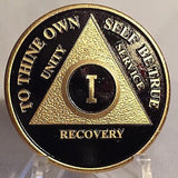 Black & Gold Plated Any Year 1 - 65 AA Chip Alcoholics Anonymous Medallion Coin - RecoveryChip