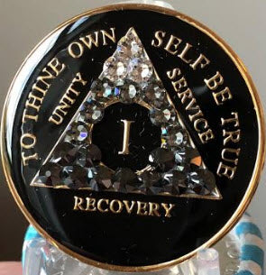 Crystal AA Medallion Transition Black Tri-Plate Sobriety Chip Year 1 - 50 - RecoveryChip